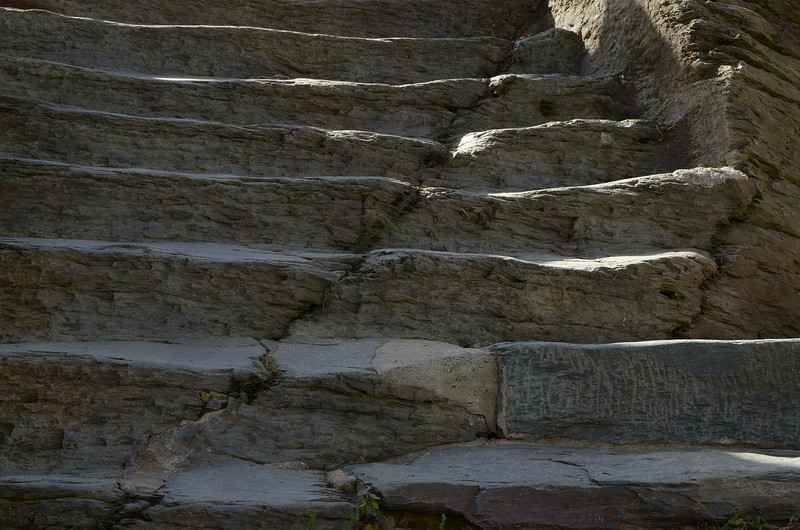 This stone stairway leading up to the church, was carved out of solid rock. No two steps the same. Be careful.....