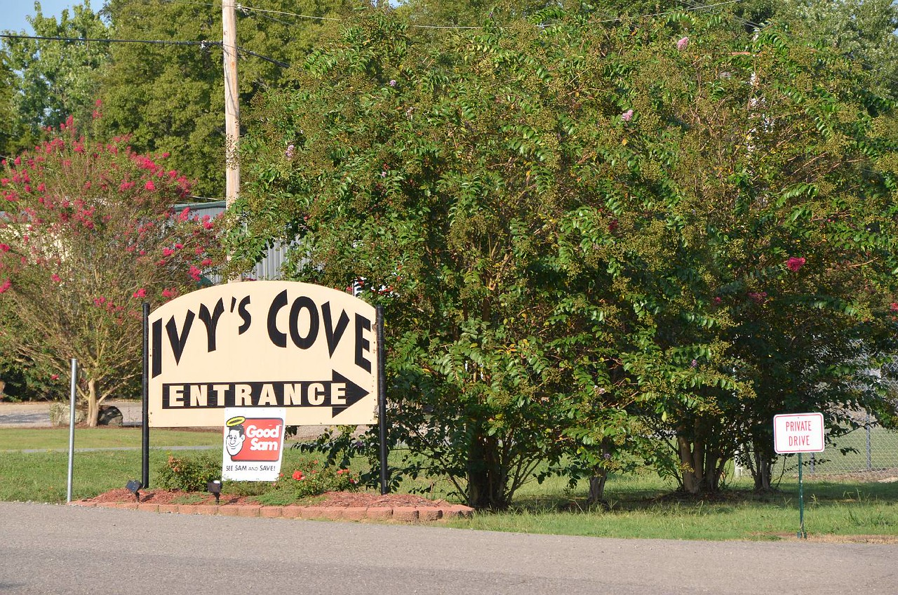 Record #447 DATE: 9/2/2017 DAY: Sat ST: AR NAME: Ivys Cove RV Retreat LOCATION: Russellville SITE #: 10 COST: $40.89 LEFT: 9:15am ARRIVED: 5pm ROUTE: US51, I55 exit 72 MS27, I20 exit 171 US65, I530, I40 exit ? Bradley Cove Rd  Before we left the CG, we drove down to the other loops that are next to the lake. What a zoo. Not our idea of camping with huge RV rigs, trucks, boats, and etc. parked right next to each other. We topped off the water tank and dumped. The 8 hour drive today was almost too much. Lots of turns onto highways that cut across MS and AR. We were very tired. However, this RV CG is not too bad. There were actually trees next to each site, and had super bathroom/showers that were individual rooms. Three weeks before we left on this fall trip, I tried to make reservations for the Fri-Sun Labor Day holiday. In AR & OK at all SP and NF, no individual nights could be reserved. We do not want to stay 3 nights when we want to travel.