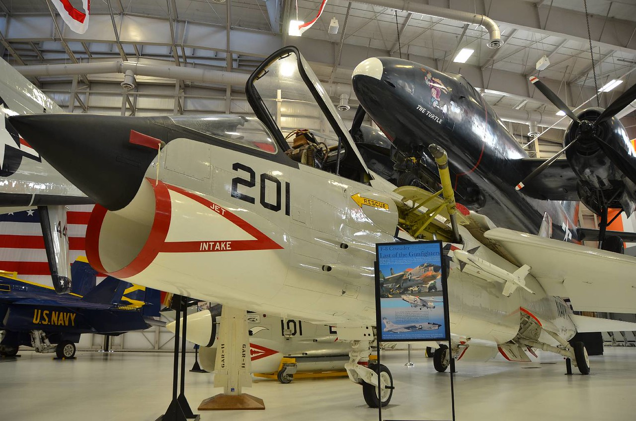 The F8 Crusader. John Glenn got famous for using one to make a record flight from the West coast to the East coast, getting there before the sun did.