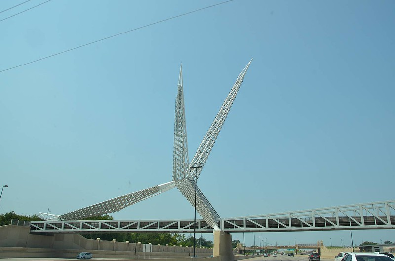 Skydance Bridge is a 380-foot-long pedestrian bridge with a 197- foot-tall sculpture that spans Interstate 40 near Robinson Avenue south of downtown Oklahoma City.