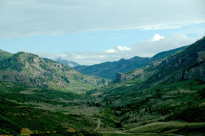 7157 - Further East, no longer a canyon or gorge, the Gunnison river still flows through a beautiful valley.