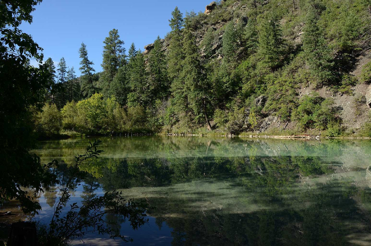 7490 - Across the (dirt) road from the raging torrent was this calm little, beautiful pond. What a contrast!