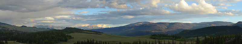 7300 - Weminuche Wilderness, evening panorama. Finally, I just shot a full panoramic view of that which was presented to me. A truly seminal image of the amazing scenery of Colorado. The tiny little snapshot on SmugMug just doesn't do justice to the full depth, beauty and expanse of the scene.