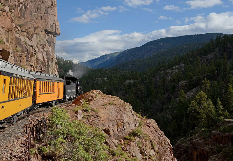 7598 - The ride from Durango to Silverton is not your normal Amtrak kind of train ride experience. Clinging to side of a solid wall of rock, overlooking an almost sheer drop of 300 or so feet on the other side. No, not completely normal.