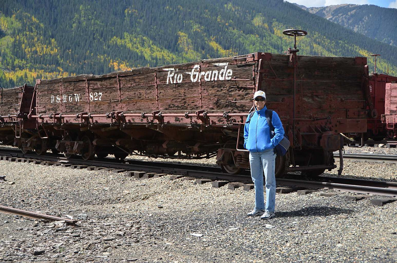 7741 - Here we are in Silverton, CO. Gail built an O-scale model of a car very much the same as this car to help qualify her for Master Model Railroader (MMR) status. Also a good touristy snapshot.