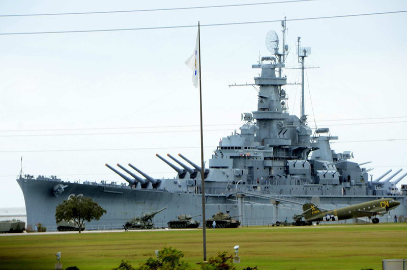 9559 - After just barely surviving our trip through Mobile, AL, we passed the USS Alabama Battleship Memorial Park for the second time this trip. This time I got a reasonably good shot of it as we whizzed by on I-10.