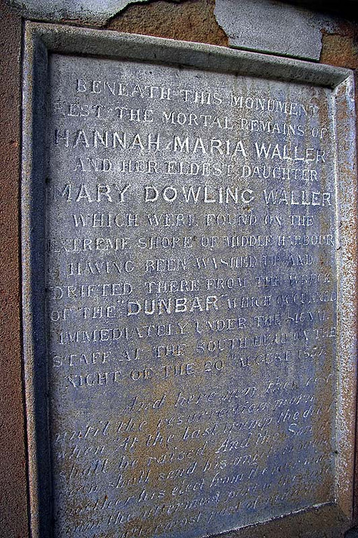 A detail from the side of the Waller memorial.