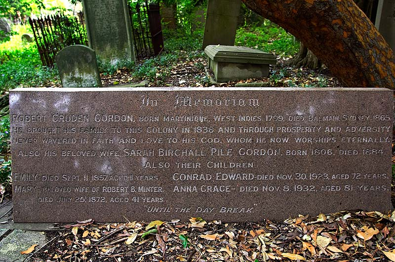 A new headstone erected recently by descendents of Robert & Sarah Gordon. The Gordons are typical of the well to do Sydneysiders buried here. Of course there are many more poor people buried in unmarked graves