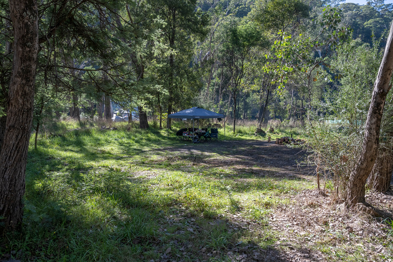 One of the many camping sites separated by tress, giving shade and a bit of privacy