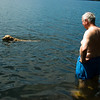 Kayak trying to explain to Deane how to do the doggy paddle
