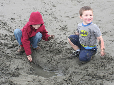 Bryce and Anthony loved playing in the sand