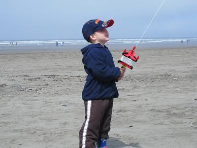 Anthony flying a kite