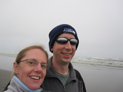 Kelly and Rob self photo at the ocean to document Rob's first time on the Washington coast