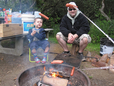 Anthony and Jeremy roasting some hotdogs