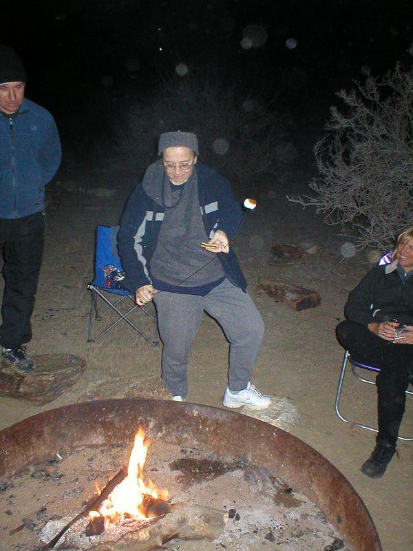Tepo roasts a marshmallow