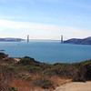 After setting up camp, we left quickly to hike around the island and up to Mount Livermore. On the way, we got this nice view of the Golden Gate Bridge. The Blue Angels' practice session will begin at any minute!