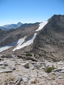 Patches of snow on the eastern slope of White Mountain. Mount Dana is on the horizon.