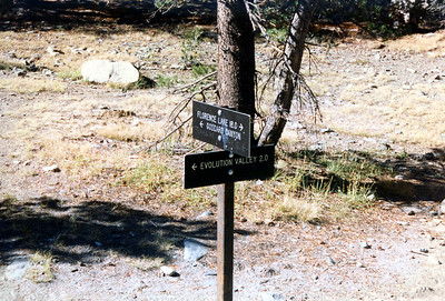 Trail signs at Evolution Valley-Goddard Canyon junction. We'll be back here in a few days.
