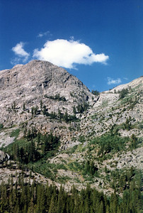 View up to the Le Conte Divide from trail to Evolution Valley.