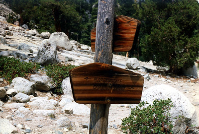 Trail signs at Piute Creek Junction.