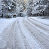 The roads were completely covered and frozen Saturday morning.