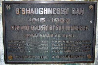 O'Shaughnessy Dam dedication plaque