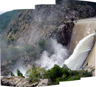 Panorama of water jets and the downstream river channel