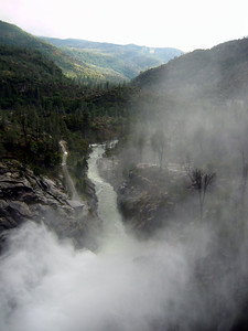 Swirling mists, downstream river channel