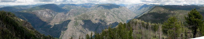 Hetch Hetchy Panorama from Smith Peak -- David and Bex took this photo from the summit of Smith Peak, just south of Hetch Hetchy. The photo was taken the week before our hike. It showed us that snow would not be an issue. The area we'll visit is to the left of the triangular shadow on the opposite side of the lake. Photo courtesy of David and Bex.