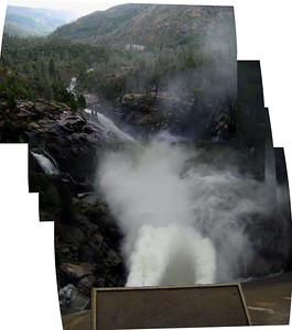 Panorama looking down at water jets and river channel