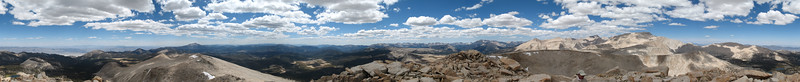 360 Panorama from the summit of Cirque Peak. It starts and ends at Olancha Peak, to the south.