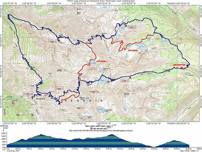 "Trip map. The distance hiked was about 32 miles, with total elevation gain and loss about 10,600 feet. The route we hiked is shown in blue. Routes we considered taking but didn't are shown in red.  This Trip Report covers a loop trip that Ron Karliner and I completed in the Mineral King region of Sequoia National Park, from September 15-19, 2002. It was a great trip! The weather was very dry, and there were no mosquitos to be found. Bears did not pay us any visits.  Our route began at the Mineral King trailhead, climbing steeply toward Sawtooth Pass. We gravitated into Monarch Creek Canyon, where we camped the first night. We tried to minimize our impact on the canyon, knowing that NPS prefers that hikers stay out of there. We definitely minimized our impact on the overcrowded Monarch Lake Campground!  The next morning, we continued the steep, messy climb to Sawtooth Pass, and proceeded east and down to Columbine Lake. It was remarkable to encounter the huge cairns on the trail to the lake, after stumbing up the confusing Sawtooth Pass ""Trail.""  Our second night's camp was in Lost Canyon. The next day, we stopped to look at a NPS helicopter take off near the Soda Creek Trail junction, before climbing north and west around a big ridge to Big Five Lakes, and on to the third night camp at Little Five Lakes.  The next morning, we climbed steeply over Black Rock Pass, pausing to take pictures and reflect on the view. We met an interesting solo hiker, and traded information about water availability and trail conditions. We hiked down to our fourth camp, near Pinto Lake. It was very confusing to find Pinto Lake, once we were close to it. We used Ron's digital camera to check an image and locate the lake exactly. (Note to self in 2002: I gotta get a GPS!).  We continued down Cliff Creek Canyon on our fifth and last day, to the junction with the Timber Gap Trail. We began the long climb to that Timber Gap, stopping to take in a hazy view of Tableland in the distance. After pausing at Timber Gap, we tightened our boots one last time, and proceeded down steeply to the trailhead and the end of another great trip."