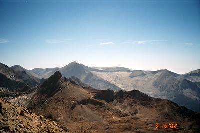 View south from Sawtooth Pass. Florence Peak, Franklin Pass are in view.