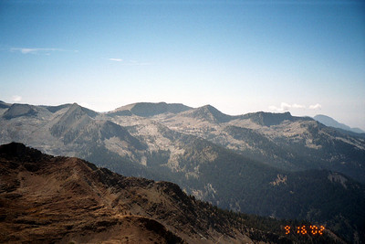 View southwest from Sawtooth Pass. Tulare Peak, Farewell Gap, Vandever Mountain are in view.
