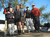 Saturday Morning Group Photo -- From left: Scott, Lucas, Sooz, John, Joe, Frank (me). Scott and Lucas went to Cima Dome and climbed Teutonia Peak. The rest of us headed for the Granite Mountains, to climb Granite Peak and meet up with WingDing (Kathy).