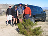 Granite Peak Trailhead -- Joe, Sooz, John, Frank, and Joe's fabulous truck. We parked by Kathy's truck. She started hiking about 30-40 minutes before we arrived.