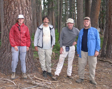 Final group photo before we split up on the trail to Devil's Punchbowl -- Spencer hiked on to Devil's Punchbowl (and a slick, rainy adventure), while TB, Bill, and I returned to Post Corral Meadow. Photo by TB.