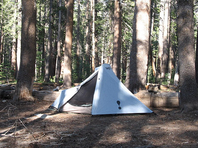 Trailbunny's tent at Hobler Lake -- Photo by TB
