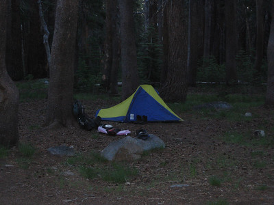 Spencer's tent at Hobler Lake -- Spencer caught up with us at about dusk. Our group was complete!