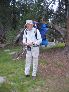 With Bill, as he is about to take off for the trailhead -- Bill is a great guy. He did not want to go back, but it was the best thing to do. Looking forward to hiking with him again.