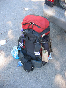 TB's backpack, at Maxson TH -- We had an odd start to the trip. Bill's boots developed a split, so he drove home to Clovis for another pair. He would catch up with us at the first campsite.