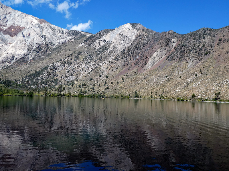 View across the lake to the steep ridge east of Laurel Mountain.