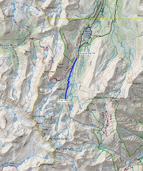 My route for today. Most of our group hiked where I went, to the south end of Long Lake, about 5.2 miles and 1050 feet gain/loss. Some hiked a shorter distance, to Heart Lake. Others hiked farther, to Chickenfoot Lake and Gem Lake.