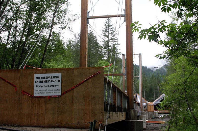 """<font size=""""+1"""">The next morning, on the way home, Sarah and I stop to look at the highly cool new bridge across the Wilson River at the new (so new it's still under construction!) Interpretive Center along Highway 6. </font>"""