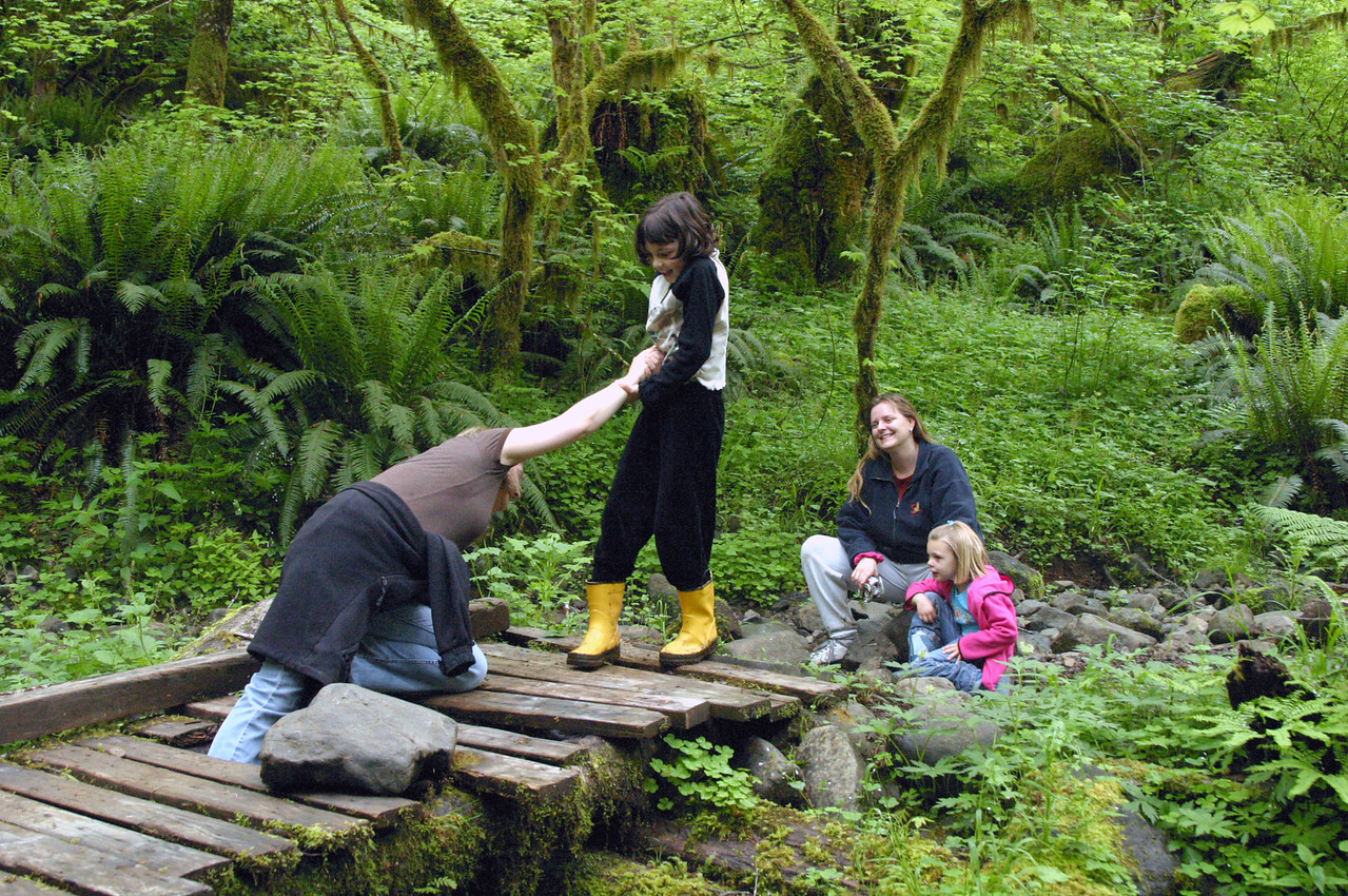 """<font size=""""+1"""">Remember """"The Dangerous Bridge?""""  Melissa has successfully lead us backwards from the morning hike, and now; MELISSA!  Nica's fallen through the the boards of the Dangerous Bridge!  Better rescue her before she falls into the creek! </font>"""