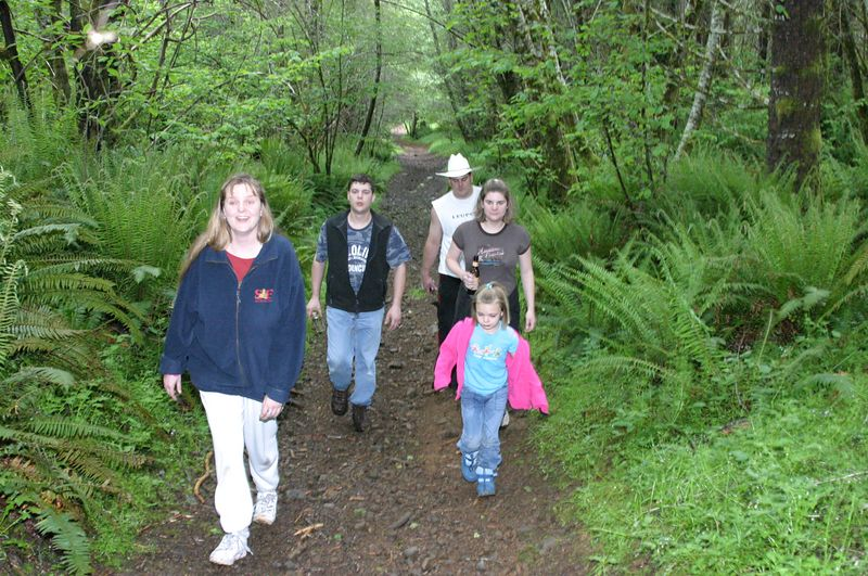"""<font size=""""+1"""">Sarah, Shawn, Rex, Nica and Hailey working our way of """"Deer Fence"""" trail.. </font>"""