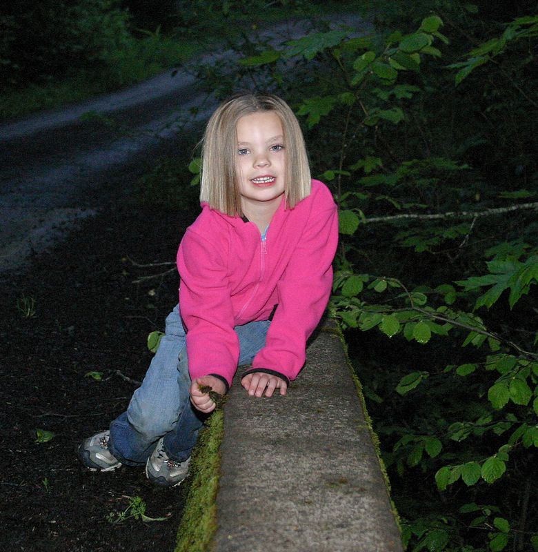"<font size=""+1"">Hailey on the bridge near camp.. </font>"