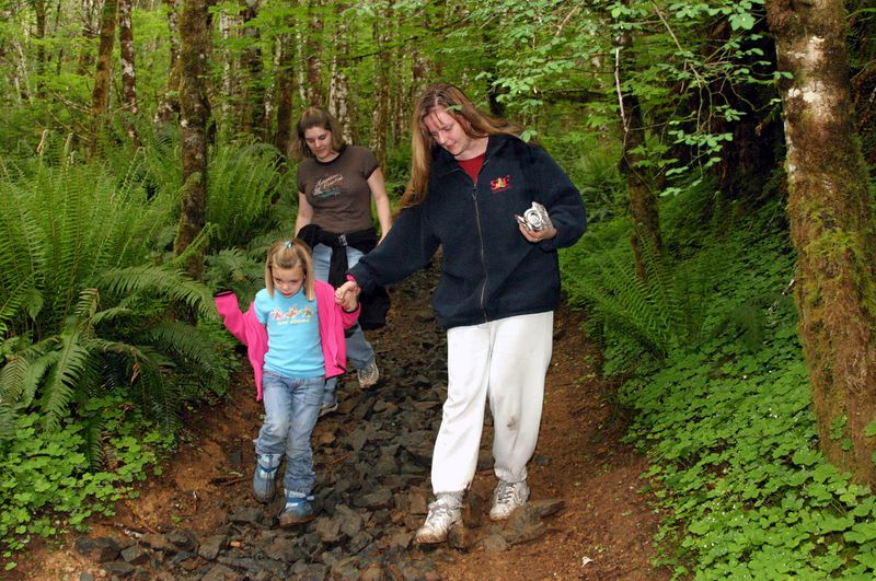 """<font size=""""+1"""">Hailey making sure that Sarah doesn't get hurt hiking on a trail with such bug rocks.. </font>"""