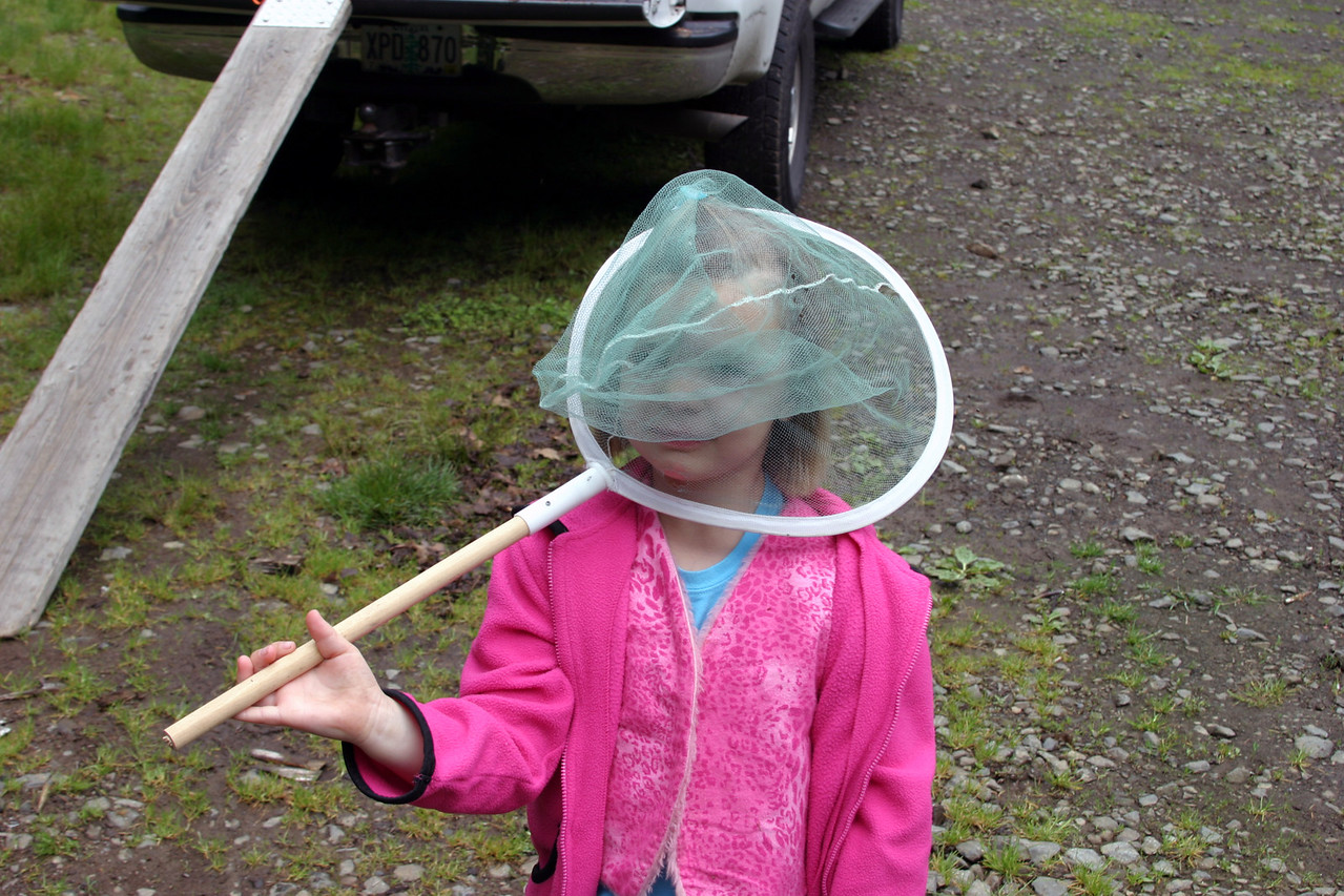"""<font size=""""+1"""">Shawn and Nica gave me the butterfly net some years ago knowing how I like to bring home bugs from my trips around the Northwest.  Hailey, I'm not a head hunter!   ;-) </font>"""