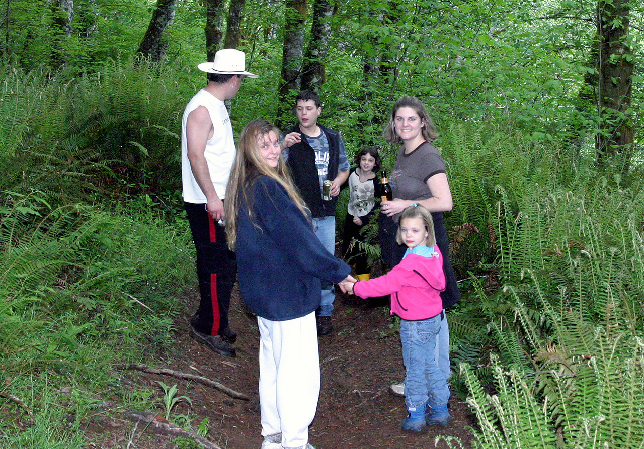"<font size=""+1"">Another group shot in the woods...  Lovely and green, deep and dark, and we have many miles to go before we can rest..  ;-) </font>"